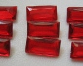 SALE Vintage Red Baguette Rhinestones Unfoiled Western Germany 12x6mm QTY - 20