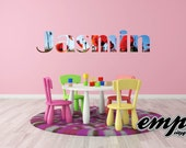 Girls Personalized Name Decals, nursery wall decals, flowerwall decals, Poppy flowers wallpaper style, Poppies Name Decal