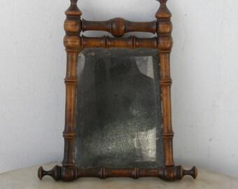 English Georgian Shaving MIrror Chestnut Bamboo Style Turnings Original Glass Gentleman's Mirror Rare 1700's