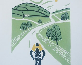 Tour de France - Original Linocut Print , Cyclist  - Cycling, Yorkshire - Bike, Contemporary Bicycle Art - Bicycle - Hand Pulled,Printmaking