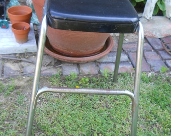 Rustic Cosco Metal Stool Chair With Black Padded Vinyl Top Mid Century Stool