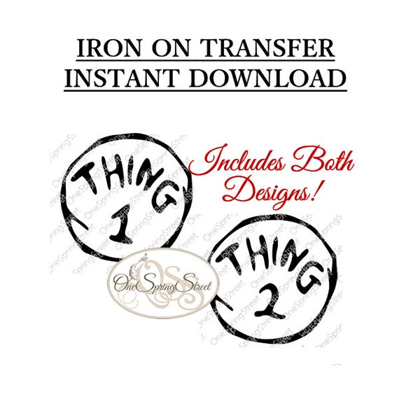 Dynamic image with regard to thing 1 and thing 2 printable iron on transfer