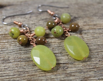 Olive Green New Jade, Copper, and Brown Agate Dangle Earrings / Green Earrings / Gifts for Her / Gifts for Women / Dangle Earrings / Copper
