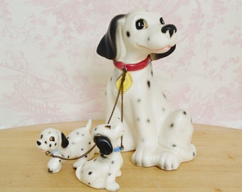 Vintage Dalmatian Chain Family Ceramic Figurines by Lipper and Mann