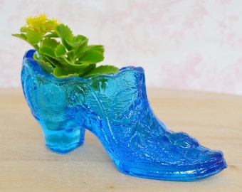 Vintage Dark Blue Glass Slipper Shoe with Flowers and Leaves by Kanawha