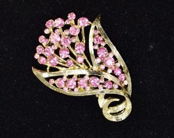 Vintage Pink Rhinestone and Golden Metal Flower Brooch