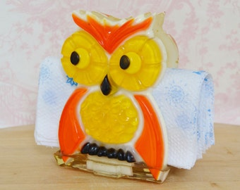 Vintage Lucite Owl Napkin Holder in Orange and Yellow