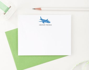 Airplane Stationery for boys, Boys Personalized Stationery, Airplane Stationary, Boys stationery, Airplane thank you cards, Set of 10