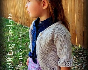 Girls knit cardigan pattern,cable cardigan,top down,girls jumper pattern,openwork,spring cardigan,girls,raglan sleeve,flower girl cover up