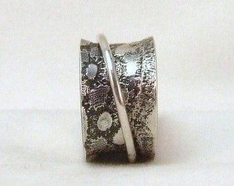 Spinner Ring Silver Lace print  size 5 3/8 (16 mm), unique handmade gift, ready to ship