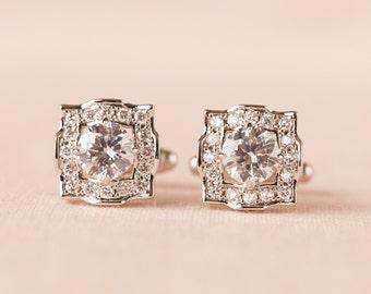 Cufflinks, Mens cufflinks,  Crystal cufflinks, Gift for Men, Wedding jewelry, Men's Clear Crystal Cufflinks, Adrienne