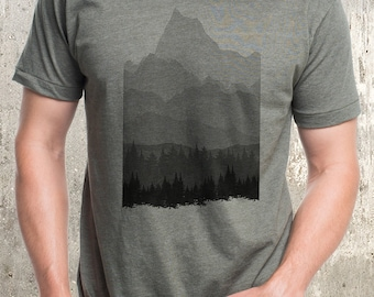 Men's T-Shirt - Forest & Mountain Layers - Screen Printed Men's American Apparel T-Shirt