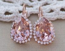 Swarovski Blush RoSE GOLD Pear Halo Earrings,Blush Halo Drop Earring,Vintage Rose Dusky Pink Rhinestone Earrings,Bridal,Weddings
