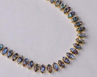 RARE Black Fire Opal Necklace,Tennis Necklace Marquise,Vintage Black Glass Harlequin Opal Link Necklace,Golden Brass,Statement,Unique Gift