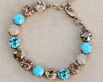 Turquoise Aqua Blue Heirloom Rhinestone Tennis Bracelet,Chamapgne Topaz Chocolate Bronze,Crystal Bracelet,Weddings,Something Blue,Gift