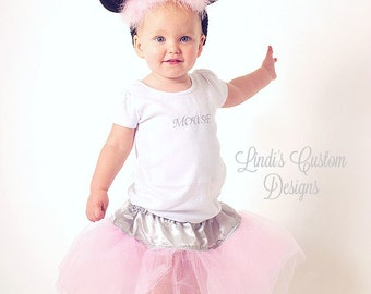 Toddler Mouse Tutu Costume for Halloween, Parties, Recitals, Mouse Ears Headband, Pink Gray Tutu, Birthday Parties, Resort Vacations