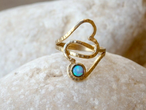 Heart opal ring hearts gold anniversary gift for wife