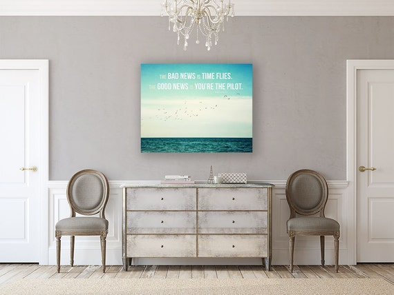 Canvas Art: Time Flies Quote, Typography Canvas Decor, Beach Decor, Ocean Decor, Beach Decor, Motivational Quote, Seagulls Teal Turquoise