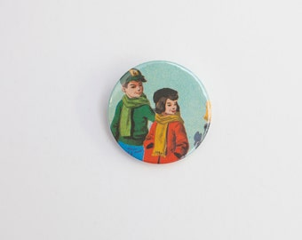 Children - A Badge  / Pinback Button made from a Vintage Ladybird Book, 38mm 1.5 Inches