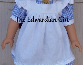 OOAK blue and white gingham and apron Edwardian play dress. Fits 18 inch play dolls such as American Girl, Springfield. Made in USA