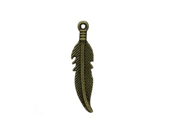 12 Feather Charms in Bronze tone - C2483