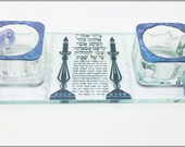 Shabbat Candle Holders  - Hand Painted Glass Midnight Blue