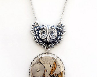 Steampunk Inspired Pendant Necklace, Vintage watch movement with a Funky Silver Owl