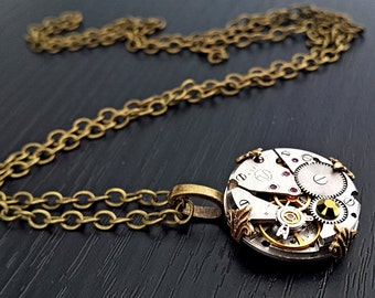 Vintage Inspired Steampunk Petite Pendant - Antiqued Brass tones.