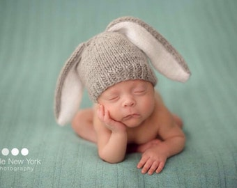 Newborn photo prop, bunny newborn/ baby hat, photography props, newborn boy, newborn girl, newborn hat, knits hat baby, newborn props, baby