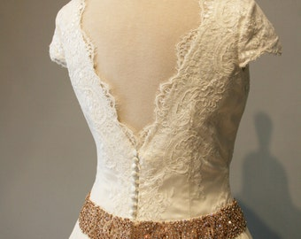 Short Sleeve Wedding Dress Ball Gown, Lace and Rose Gold Belt - Jacqueline Style