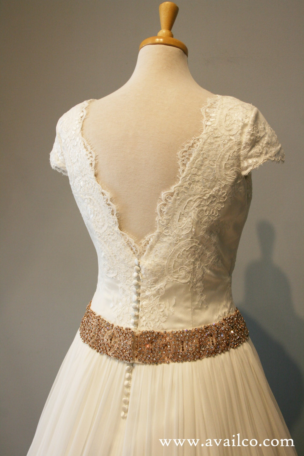 sleeve wedding dress gown lace and gold belt