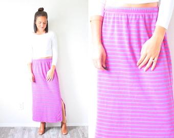 Vintage SMALL purple pink striped high waisted skirt // midi maxi skirt // summer skirt // 90's skirt // HANNA ANDERSSON side slit skirt