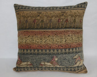 """Egyptian Hieroglyph Pillow, Chenille 18"""" Sq, Blue Tan Peach, Sphynx Ancient Tomb Motifs, Zipper Cover Only Or Insert Included, Ready Ship"""