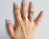 Stacking Midi Rings - Brass Rings, Adjustable Rings, Knuckle Rings, Stackable Rings, Boho Rings, Bohemian Jewellery, Hippie Rings, Ring Set