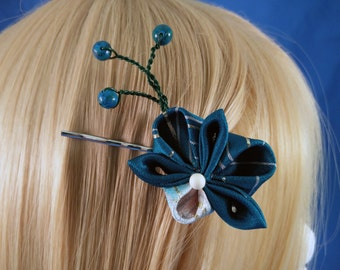 Teal Orchid with Buds Kanzashi Flower Bobby Pin