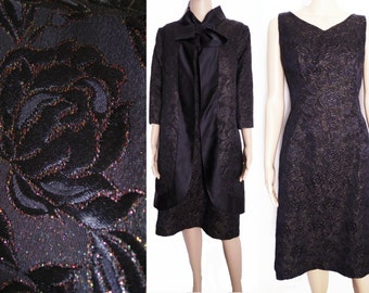 Vintage 1950s Dress//Matching Jacket//50s Cocktail Dress//Mod//New Look//Rockabilly//Party Dress//Black//Multi Colored