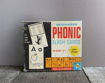 Vintage 1970s Flash Cards / Phonic Flash Cards / 1970s Ephemera