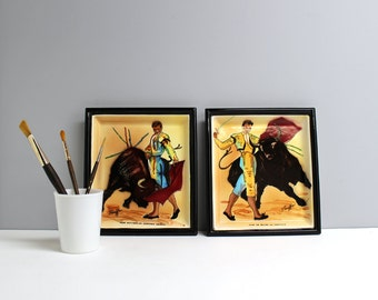 Two vintage bullfighting plates - hand painted by Stauffer - crossed arrow mark #8355 - matadors Chamaco and Domingo Ortega