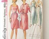 1960s Evening Dress & Jacket Pattern, Simplicity 6174, Womens Wedding Dress Formal Prom Dress Sewing Pattern Misses Size 14 16, Bust 34 36,