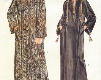 80s Womens and Mens Caftan Dashiki Robe Ethnic Caftan Vogue Sewing Pattern 8474 UnCut Chest/Bust 30 to 48 Size 6 to 26 Very Easy Very Vogue
