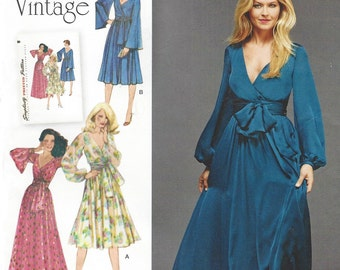 1970s Mock Wrap Dress in 2 Lengths Simplicity Sewing Pattern 8013 Size 6 8 10 12 14 Bust 30 1/2 to 36 Re-Issued 1970s Patterns