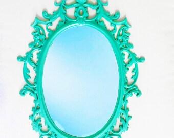 Hollywood Regency Vintage Sea Foam Green mirror: ornate mint green mirror vintage home decor