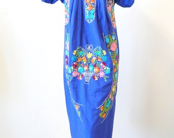 Beautiful Bright Blue Mexican Wedding Dress Vivid Embroidery Sz S - M