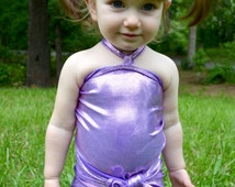 Baby Bathing Suit Metallic Lavender Wrap Around Swimsuit to Fit Newborn to 3T Toddler Girls Swimwear