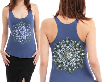Uv Reactive Womens Tank Top In Blue, Yoga Top, Festival Wear, Cotton Tank Top, Glow In The Dark, Psy Fashion, Psychedelic Top