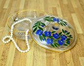 Antique Hand Painted Floral Gold Etched Divided Glass Covered Jewelry Dish