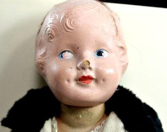 "Antique Composition Doll 12"" Creepy - Original Underdress / Faux Fur Coat - Vintage Weird Toy - estate sale find"