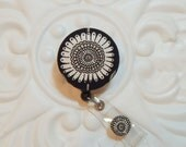 Retractable Badge Holder Id Reel  Fabric Covered Button Black White And Gray