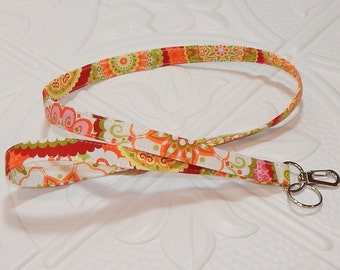 Lanyard Fabric Lanyard Teacher Lanyard Orange Pink Green