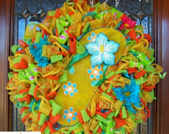 READY TO SHIP Bright Whimsical Summer Flip Flop Wreath